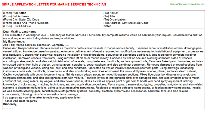 Marine services Technician Application Letter Template