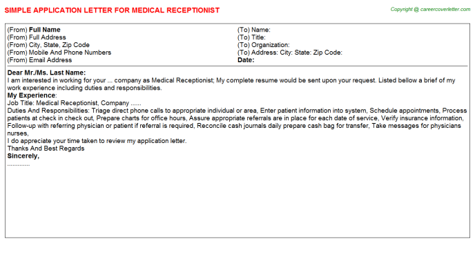 Medical Receptionist Application Letter Template