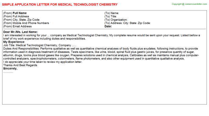 Medical Technologist Chemistry Application Letter Template