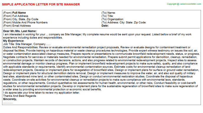 Site Manager Application Letter Template
