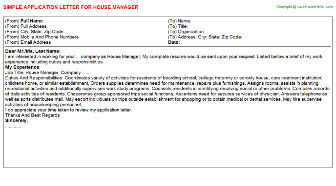 House Manager Application Letter Template
