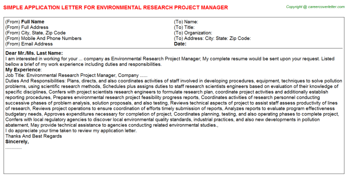 Environmental Research Project Manager Application Letter Template