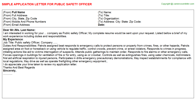 public safety officer application letter template