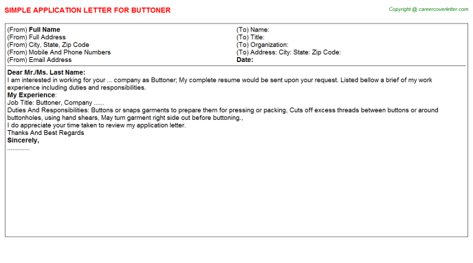 Buttoner Application Letter Template