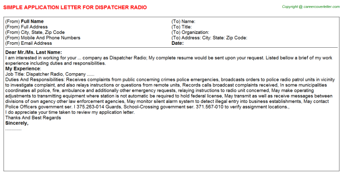 dispatcher radio application letter template