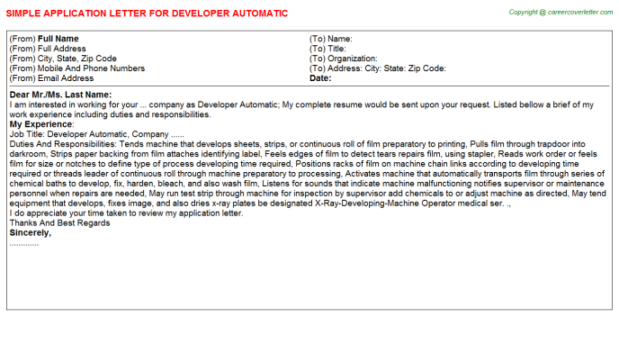 Developer automatic job application letter (#23105)