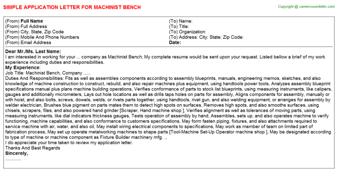 machinist bench application letter template