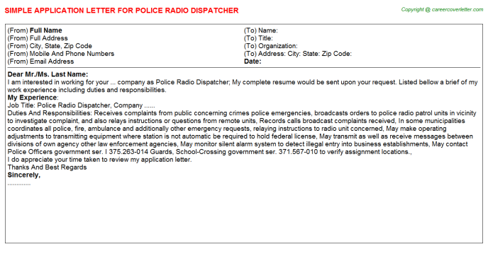 Police Radio Dispatcher Job Application Letter Template