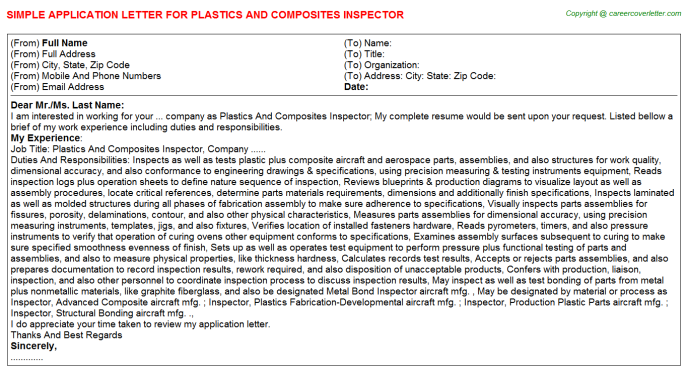 Plastics And Composites Inspector Job Application Letter Template