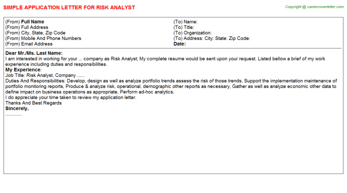 Risk Analyst Application Letter Template