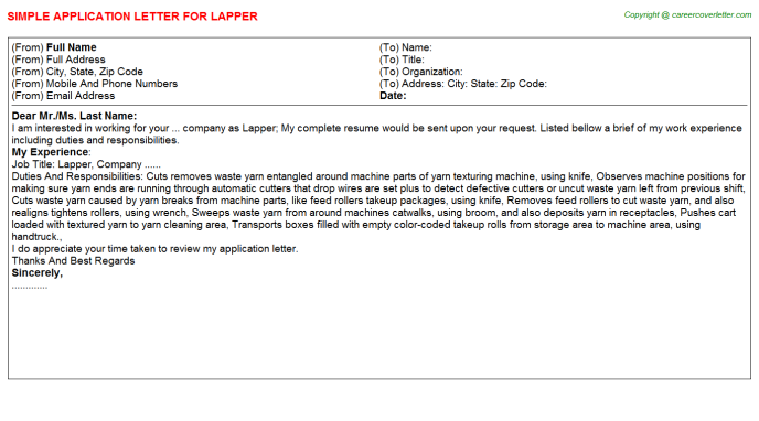 Lapper Job Application Letter Template