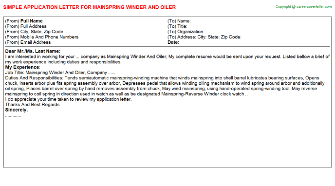 Mainspring Winder And Oiler Application Letter Template