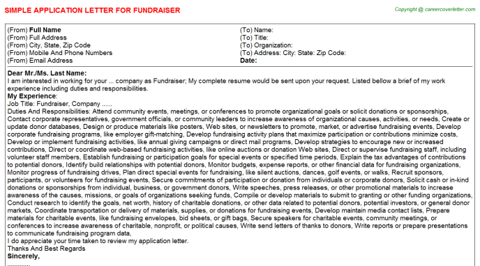 Fundraiser Application Letter Template