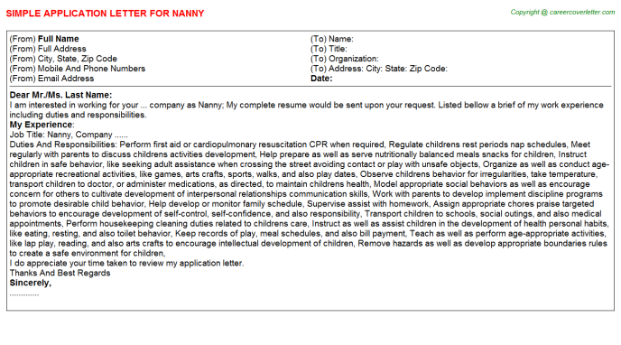 Nanny Application Letter Template