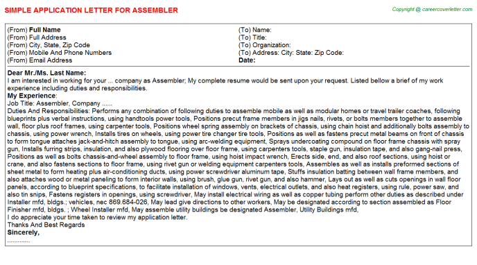 Assembler Job Application Letter Template
