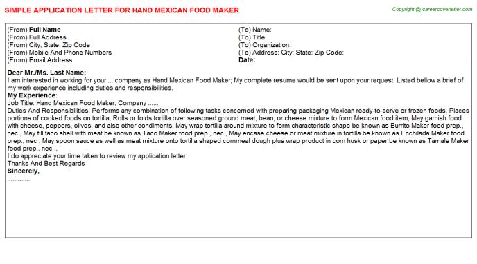 hand mexican food maker application letter template