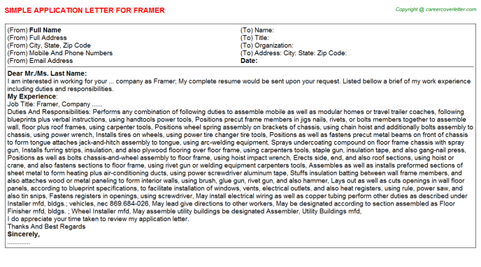 Framer Job Application Letter Template