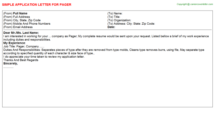 Pager Job Application Letter Template