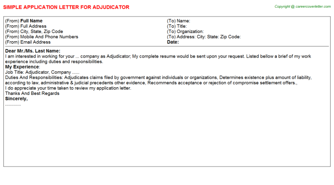Adjudicator Application Letter Template