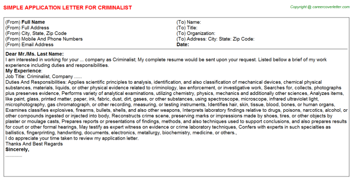 Criminalist Job Application Letter Template