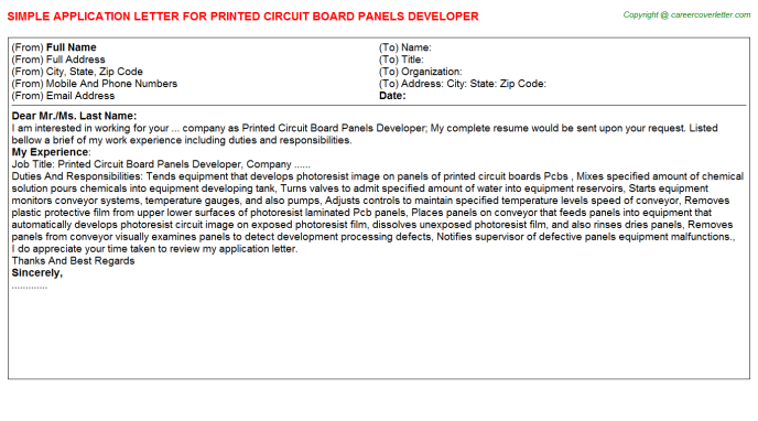 Printed circuit board panels developer job application letter (#23115)