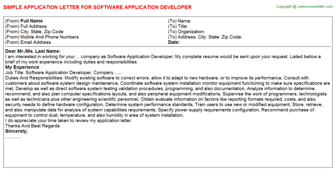 Embedded Software Engineers Job Application Letters Examples