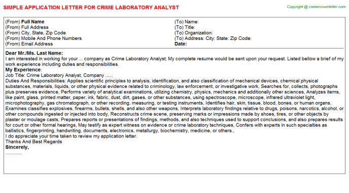 Crime Laboratory Analyst Application Letter Template