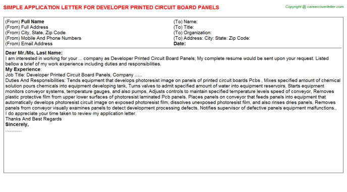 Developer printed circuit board panels job application letter (#23116)