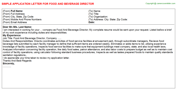 Food And Beverage Director Application Letter | Application ...