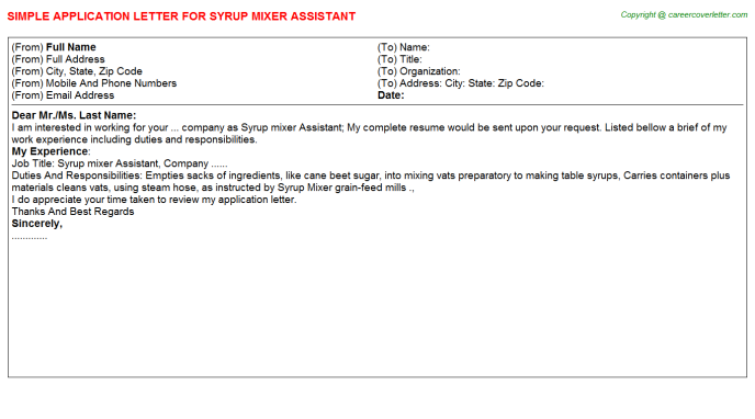 syrup mixer assistant application letter template