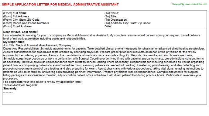 Medical Administrative Assistant Application Letter Template