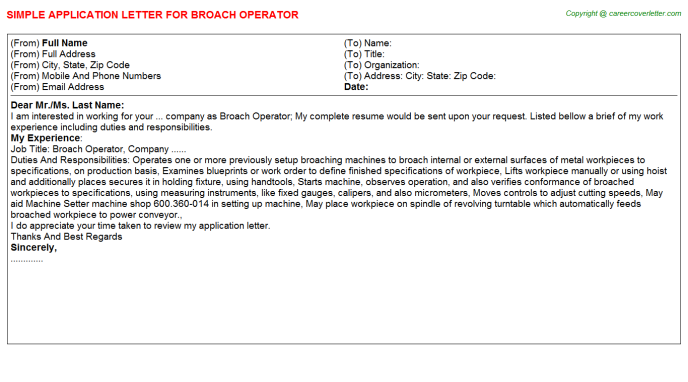 broach operator application letter