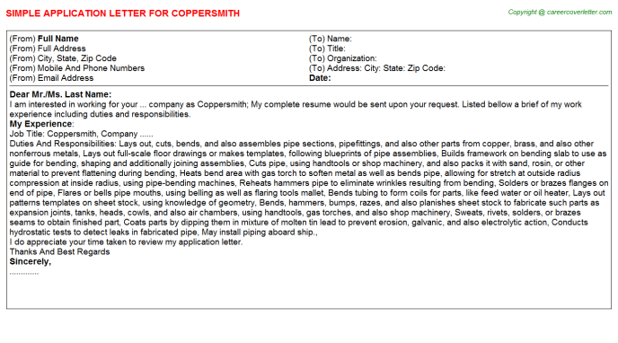 Coppersmith Job Application Letter Template