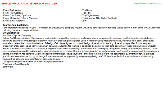 Digitizer Application Letter Template