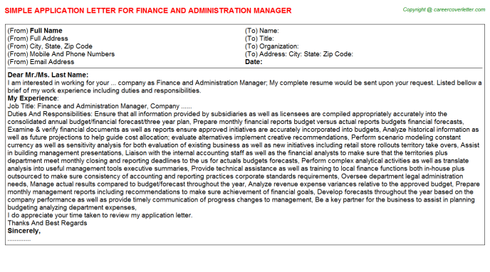 finance and administration manager application letter template