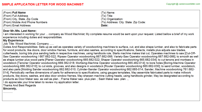 wood machinist application letter template