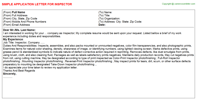 Inspector Application Letter Template