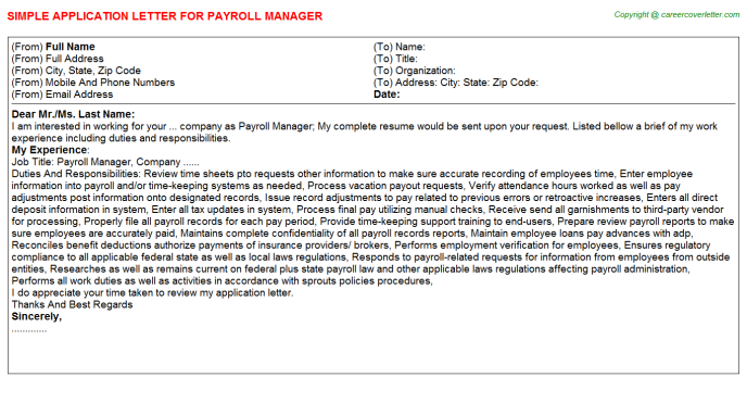 Payroll Manager Job Application Letter Template
