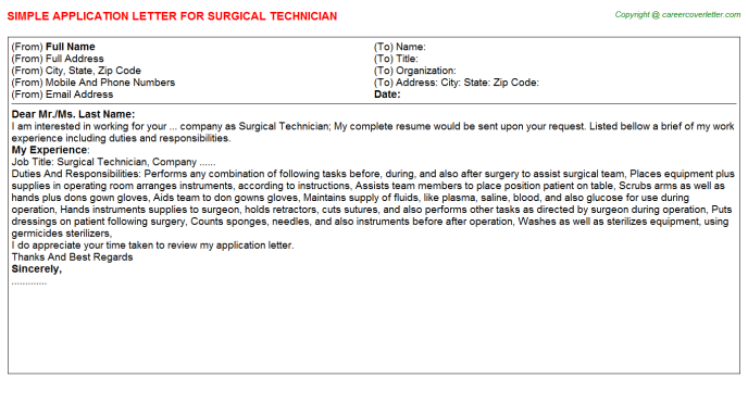 Surgical Technician Job Application Letters