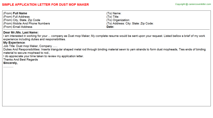 Dust Mop Maker Application Letters