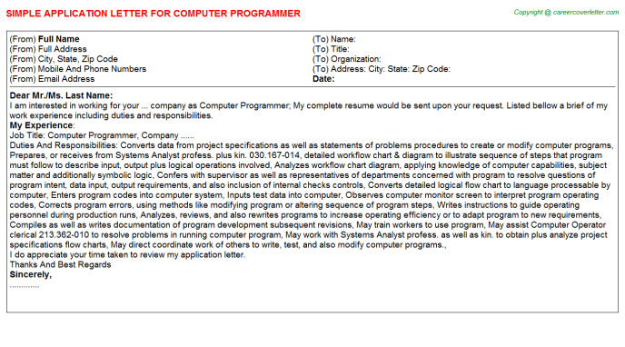 Computer Programmer Application Letter Template