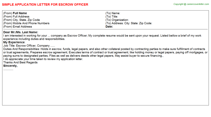 Escrow Officer Application Letter Template