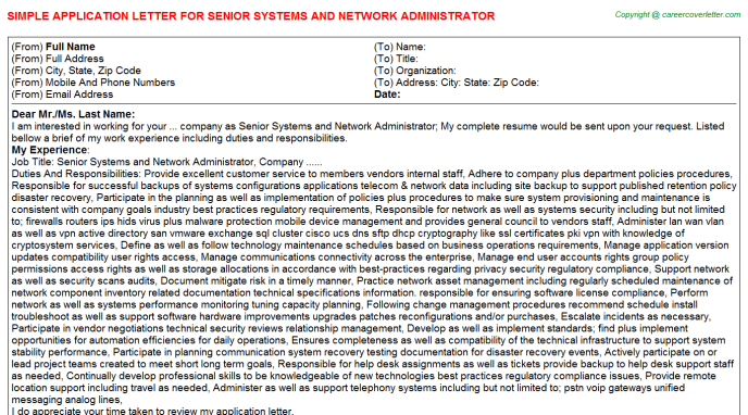 senior systems and network administrator application letter template