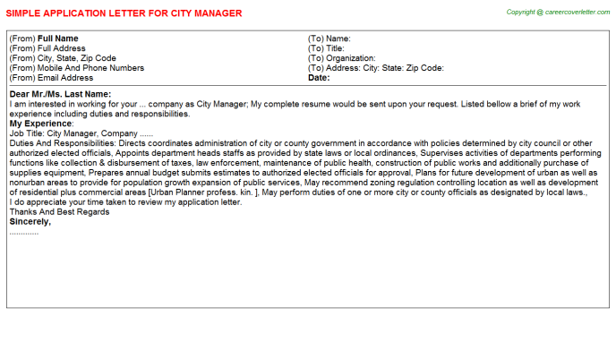 City Manager Application Letter Template