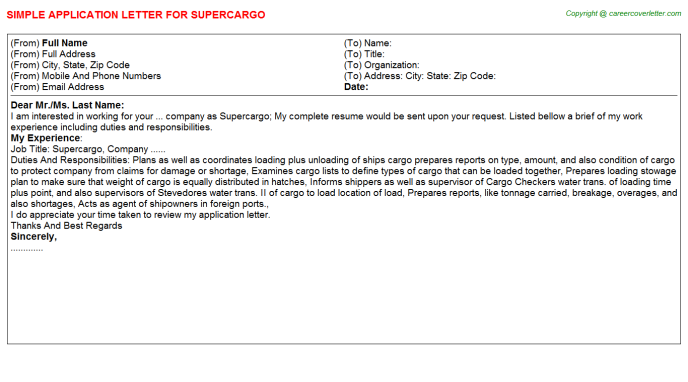 Supercargo Job Application Letter Template