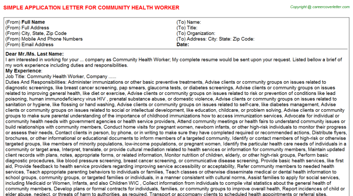 Community Health Worker Application Letter Template