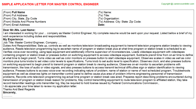 master control engineer application letter template