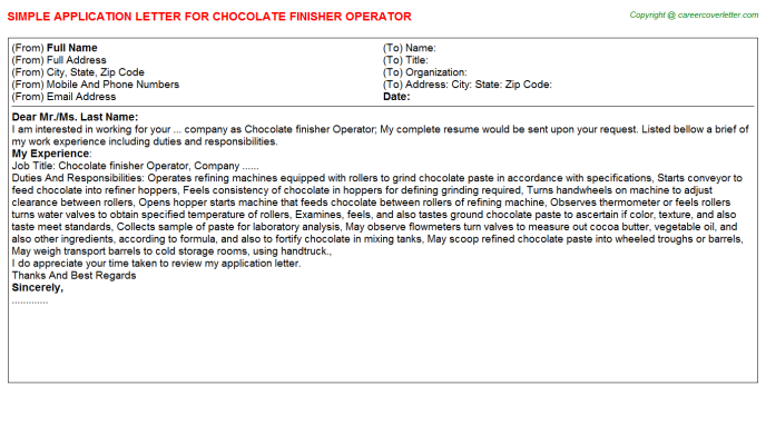 chocolate finisher operator application letter template