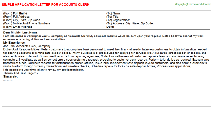 Accounts Clerk Application Letter Template