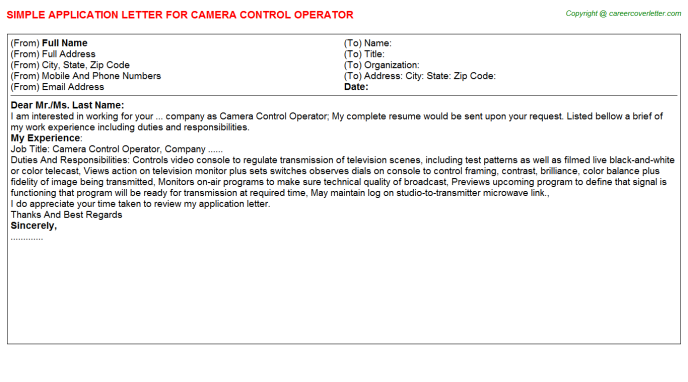 Camera Control Operator Job Application Letter Template